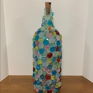 Beaded covered wine bottle by Susan